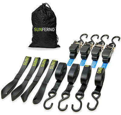 6. Sunferno 15 Foot Ratchet Straps Tie Down (4 Pack)
