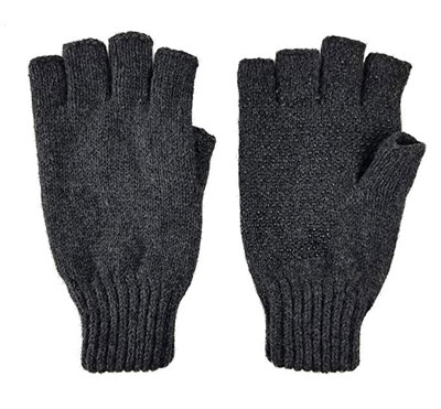 9. BRUCERIVER Men's Wool Knitted Fingerless Gloves