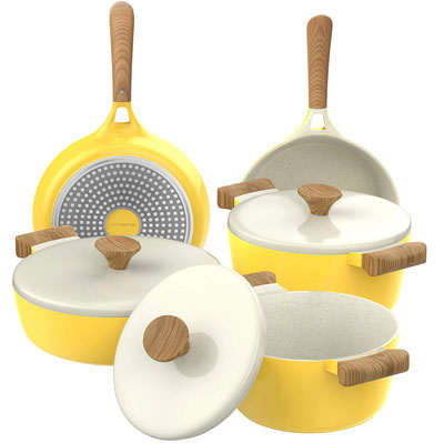 7. Vremi 8 Piece Ceramic Nonstick Cookware Set