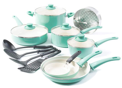 2. GreenLife 16pc Ceramic Non-Stick Cookware Set