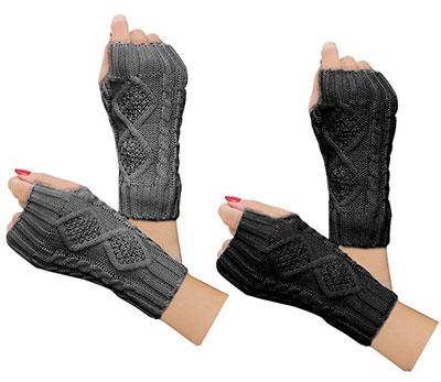 3. Justay Women Winter Warm Knit Fingerless Gloves (2 Pairs)