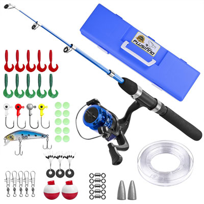 4. PLUSINNO Kids Light and Portable Telescopic Fishing Rod