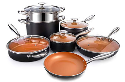 10. MICHELANGELO 12 Piece Copper Cookware Set