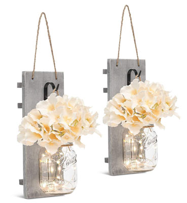 2. Chen Mason Jar Sconces LED Strip Lights - Set of 2