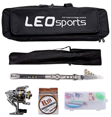 9. OUTLIFE Fishing Tackle Kit with Spinning Rod Reel Combos