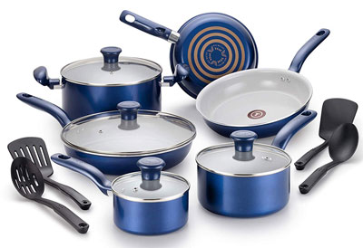 5. T-fal G918SE Ceramic Cookware Set, 14-Piece