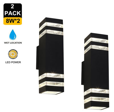 5. Naturous 2 Pack Waterproof LED Wall Sconce