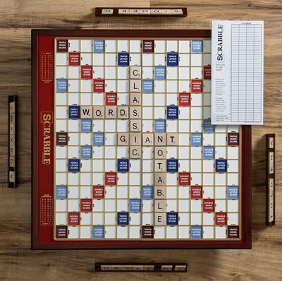 7. Scrabble Giant Edition Wooden Scrabble Board