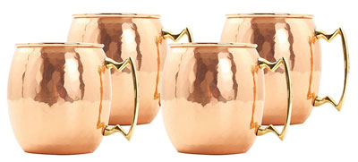 5. Old Dutch 16 Oz. Nickel-Lined Copper Moscow Mule Mug, Set of 4