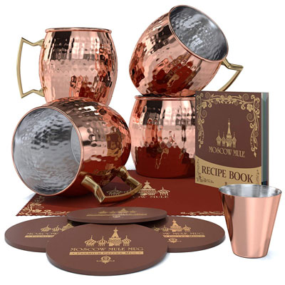 7. Krown Kitchen Moscow Mule Copper Mug Set of 4 – 16oz