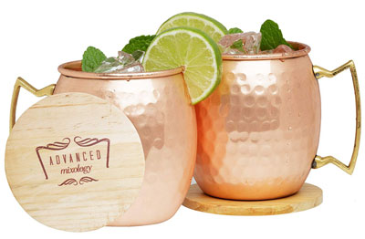 10. Advanced Mixology Set of 2 16 Ounce Moscow Mule Copper Mugs