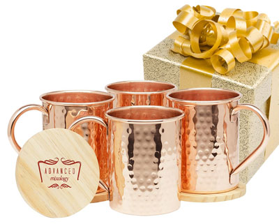 9. Advanced Mixology Set of 4 Moscow Mule Copper Mugs