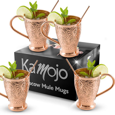 8. Kamojo Moscow Mule Pure Copper Mugs (Set of 4)