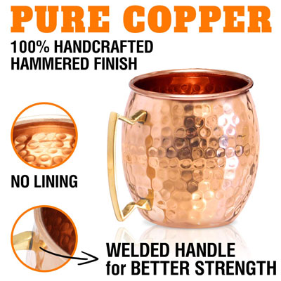 3. Benicci Moscow Mule Copper Mugs – Set of 4