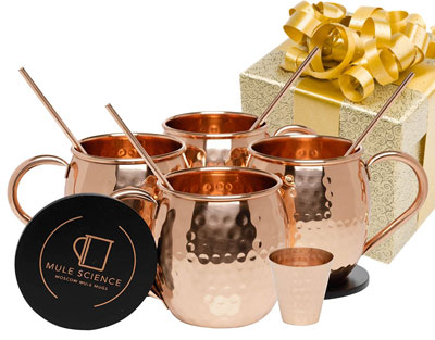 1. Advanced Mixology Set of 4 Moscow Mule Copper Mugs – Science