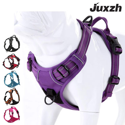 5. Juxzh Soft Dog harness Two Attachments with Handle