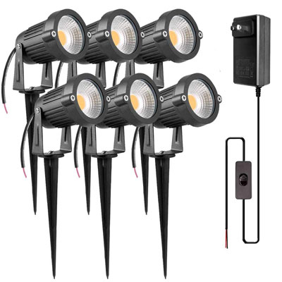 5. ZUCKEO 5W LED Low Voltage Landscape Lights (6 Pack)
