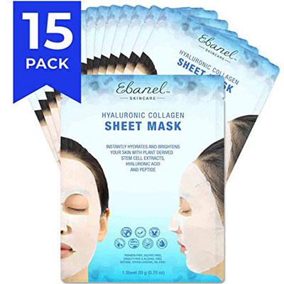 1. Ebanel Laboratories 15-Pack Collagen Face Mask
