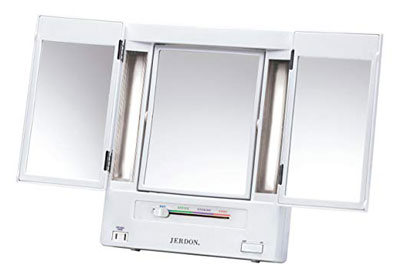 2. Jerdon Two-Sided Makeup Mirror Lighted Tri-Fold 5X Magnification