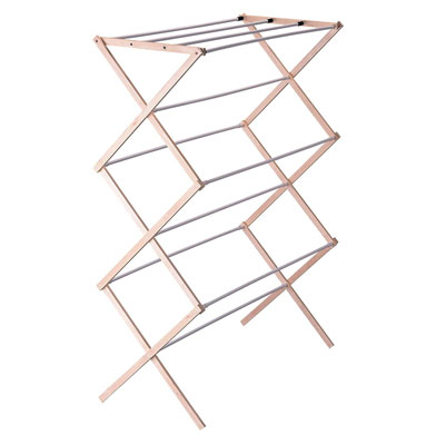4. Household Essentials Folding Wooden Laundry Drying Rack 5001 Collapsible