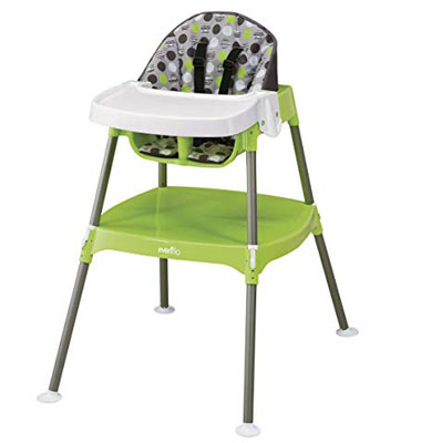 5. Evenflo Dottie Lime Convertible Baby Foot High Chair