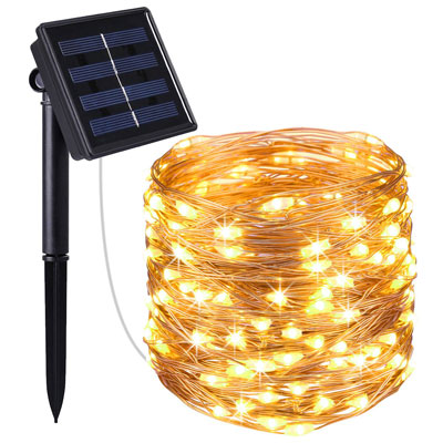 1. Amir 100 LED Solar String Lights Waterproof Copper Wire