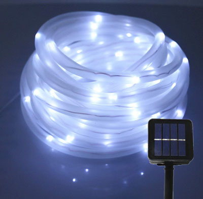 9. Julyfire 6000K White Outdoor Rope Light 100mRh Solar