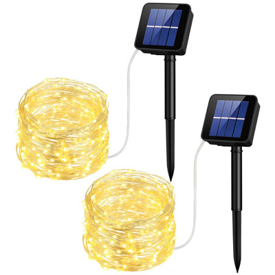 2. Mpow 33Ft Solar String 100 LED Lights Outdoor Decorative