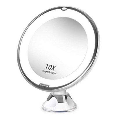 5. Beautural Natural LED 10X Magnifying Lighted Makeup Mirror