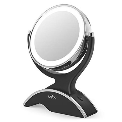 8. Anjou 1X/7X Magnification Lighted LED Mirror Removable Double Side