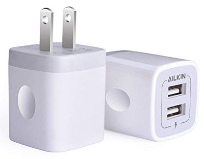 3. Ailkin 2.1Amp Dual-Port Charger 2-Pack Cube Replacement