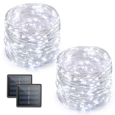 4. Vmanoo 2-Pack DIY Solar-Powered Rope Lights Starry White