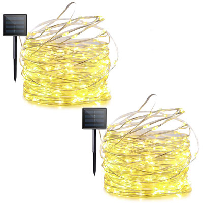 10. Lalapao 8-Mode 2-Pack Solar Powered LED String Lights Warm White