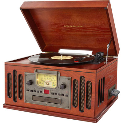 4. Crosley 3-Speed Turntable with Radio, CD/Cassette Player, Aux-in and Bluetooth (CR704D-PA)