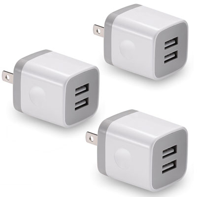 7. Best4one 3-Pack Dual Port Charging 2.1A/5V