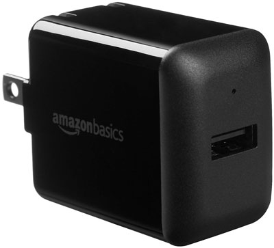 4. AmazonBasics 2.4 Amp One-Port USB Wall Charger Black