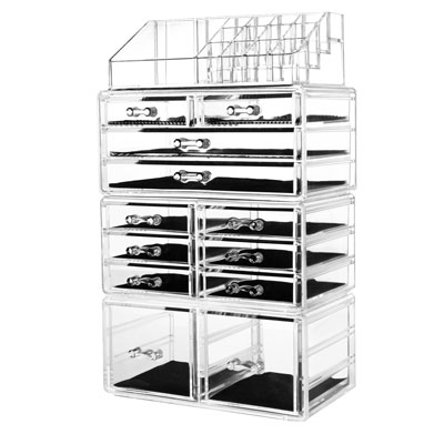 7. Hblife Acrylic Cosmetic Makeup Organizer 12 Drawers