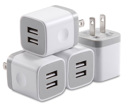 6. X-Edition 4-Pack Wall Charger USB Cube Dual Port