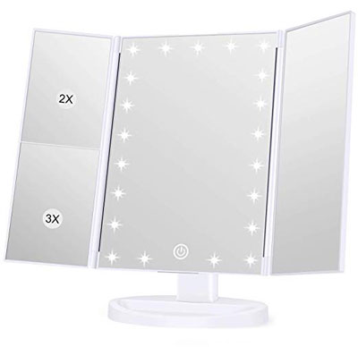 6. Koolorbs LED Vanity Makeup Mirror Touchscreen Switch 180-Degree Rotation