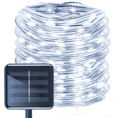 5. Aluvee Waterproof Rope Solar Light Outdoor 100 LED 33 Feet