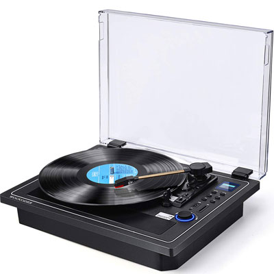 9. WOCKODER Turntable Bluetooth In & Out Record Player