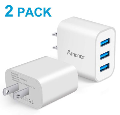 10. Amoner 15W Wall Charger 3-Port USB Cube