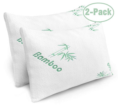 4. Plixio 2-Pack Queen Size Bed Bamboo Cover Shredded Foam