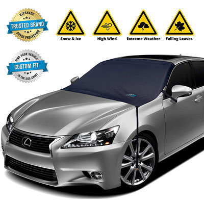 9. EzyShade Custom-Like Windshield Snow Cover Waterproof Fabric