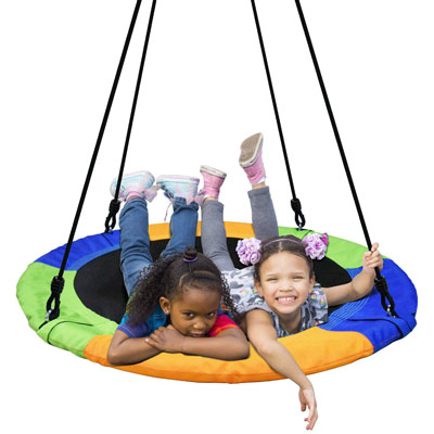 8. Paceearth 40-Inch Adjustable Saucer Flying Tree Swing Durable