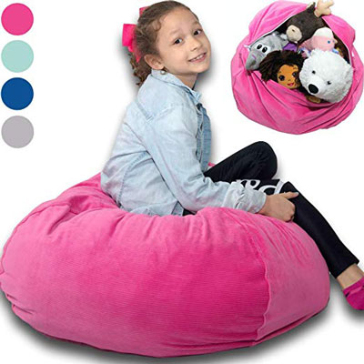 4. BabyKeeps Large Stuffed Animal Storage Bean Bag