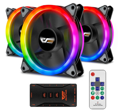 5. darkFlash Aurora DR12 Pro 3-Pack Fans with Controller and Remote