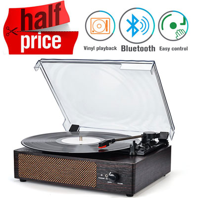 5. WOCKODER Record Player with Built in Stereo Speakers