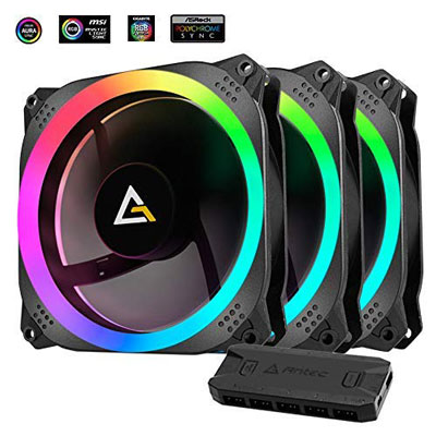 6. Antec Prizm 120mm RGB Case Fan Radiator – 3 Pack and 2 RGB Strips