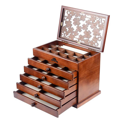 4. Kendal Real Wood/Wooden Jewelry Box Case